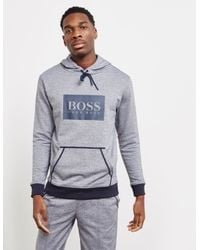 BOSS Gray Overhead Stamp Hoodie for men