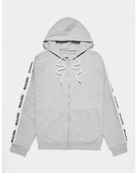 Moschino Gray Arm Tape Zip Through Hoodie Grey for men