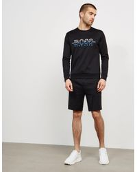 BOSS Mens Salbo Crew Neck Sweatshirt Black for men