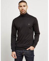 60f84977 Polo Ralph Lauren Mens Roll Neck Long Sleeve T-shirt Black in Black ...