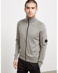 C P Company Gray Mens Full Zip Lens Knit Grey for men