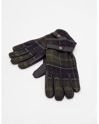 Barbour Black Leather Tartan Newbrough Gloves for men