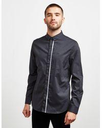 Armani Exchange Tipped Placket Long Sleeve Shirt Black for men