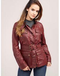 Belstaff | Red Roadmaster Belted Coated Cotton Jacket | Lyst