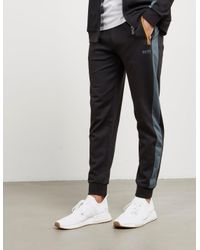 BOSS Mens Poly Pique Cuffed Track Pants Black/orange for men
