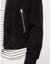 AMI Suede Bomber Jacket Black for men