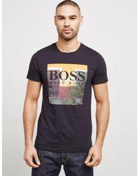 BOSS - Mens Palm Short Sleeve T-shirt Black for Men - Lyst