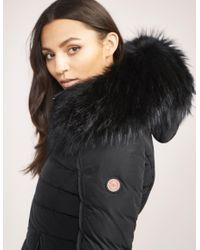 Froccella Womens B-153 Big Padded Fur Jacket Black, Black