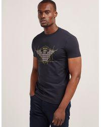 Armani Jeans Blue Mens Stencil Eagle Logo Short Sleeve T-shirt Navy for men