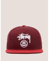 5a7db4794824a1 Stussy Stock Lock Cap in Red for Men - Lyst
