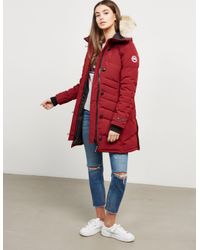 Canada Goose Womens Lorette Padded Parka Jacket Red
