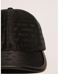 Armani Jeans - Black Nylon Print Cap for Men - Lyst