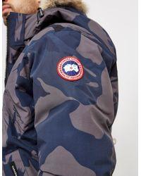Canada Goose Blue Mens Borden Padded Bomber Jacket Camo for men