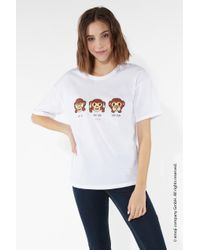 Tezenis White T-Shirt aus Baumwolle Emoji