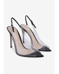 Gianvito Rossi Black Kourtney 105 Slingback Leather Transparent Pumps