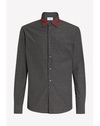 Ferragamo Black Gancini Print Sporty Cotton Shirt for men