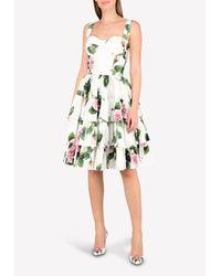 Dolce & Gabbana White Floral Cotton-poplin Midi Dress