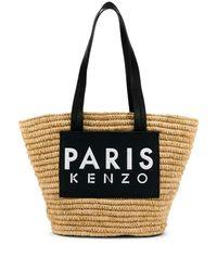 KENZO Black Logo Straw Tote