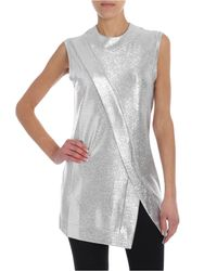 Top argento lamé di Paco Rabanne in Metallic