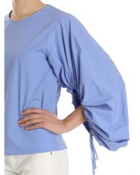 Erika Cavallini Semi Couture - Light Blue Blouse With Elastic Sleeves - Lyst