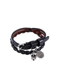 Alexander McQueen Black Leather Skull Bracelet for men