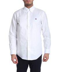 Camicia button down bianca in cotone oxford di Brooks Brothers in Blue da Uomo