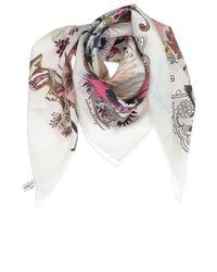 Foulard Con Stampa Collage di Ferragamo in White