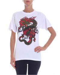T-shirt bianca stampa dragone con strass di P.A.R.O.S.H. in White