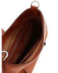 Tod's Brown Leather And Suede Hobo Bag In Leather Color
