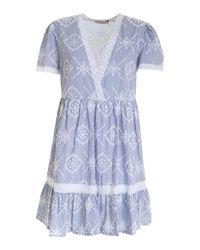 Twin Set Blue Sangallo Striped Dress