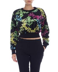 Versace Jeans Color Baroque Sweatshirt In Black