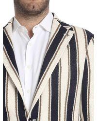 Giacca in cotone color panna di Tagliatore in Multicolor da Uomo
