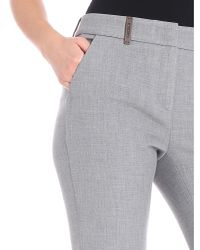 Peserico - Melange Gray Crop Trousers - Lyst