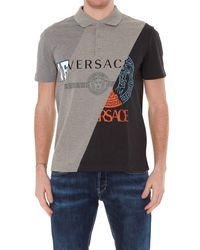 Versace Gray Compilation Polo Shirt for men