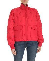 KENZO Red Logo Lettering Pattern Down Jacket