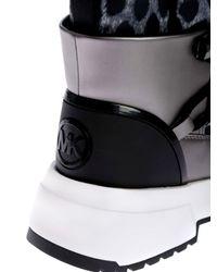 Michael Kors Black Cassia Boots In Cheetah Print Nylon