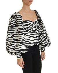 The Attico Multicolor Off-shoulder Zebra Print Top