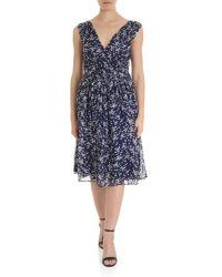 P.A.R.O.S.H. Blue Sleeveless Dress With White Stars Print