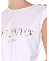 Balmain - White And Golden Jersey Top With Logo - Lyst