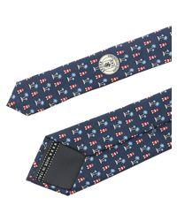 Cravatta in seta blu scuro con fantasia di Ermenegildo Zegna in Blue da Uomo