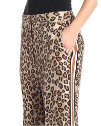 Alberto Biani Natural Beige Animalier Print Trousers