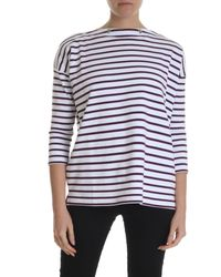T-shirt bianca a righe viola manica a tre quarti di Zucca in Purple