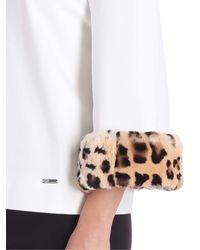 Blumarine White Jersey Blouse With Fur Detail