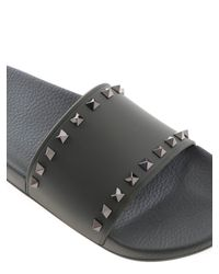 Valentino Rockstud Rubber Slides In Olive Green for men