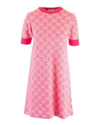 Gucci Pink Cotton And Wool Pique Short Gg Dress