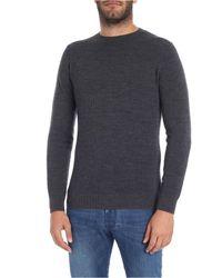 Pullover girocollo antracite in lana lavorata di Zanone in Multicolor da Uomo