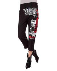 Pantaloni Dennis neri con stampe di DSquared² in Multicolor