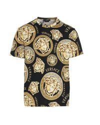 Versace Black All-over Medusa Logo T-shirt for men
