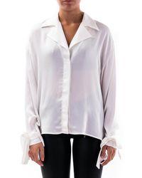 L'Autre Chose White Lace-up Cuff Viscose Shirt