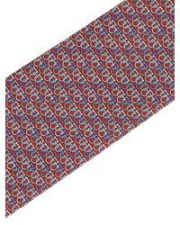 Cravatta Con Stampa Gancini Rossa di Ferragamo in Red da Uomo